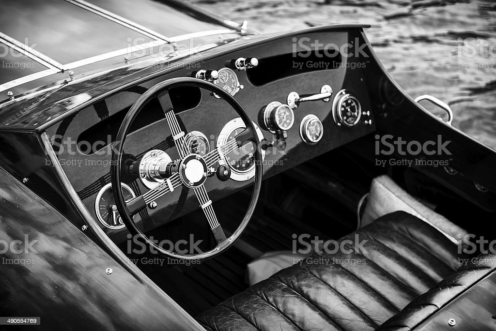 Wooden Motor Boat Dashboard - Black and White stock photo