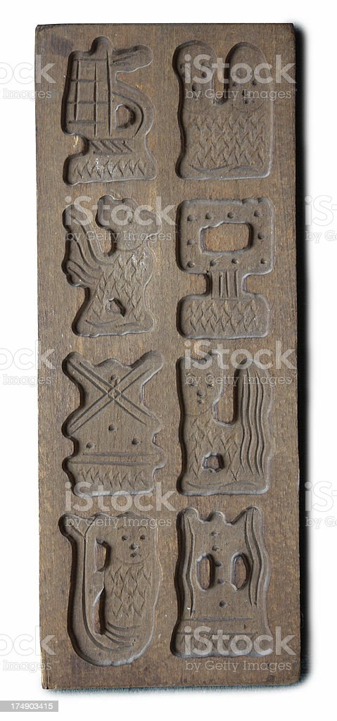 Wooden mould to bake almond biscuits. stock photo