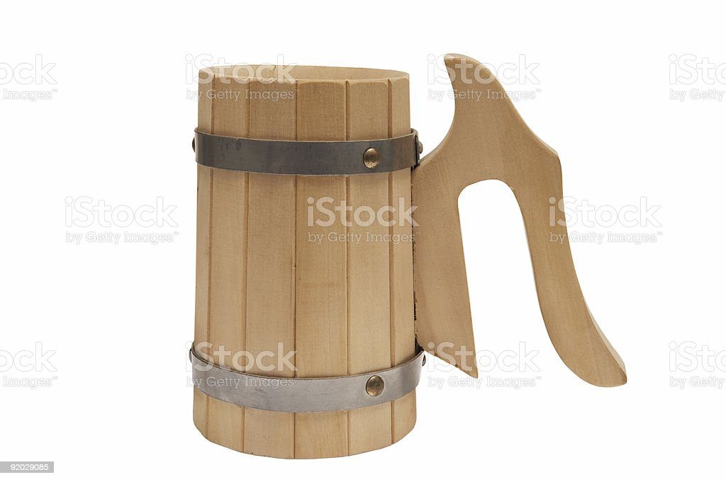 Wooden mug for beer royalty-free stock photo