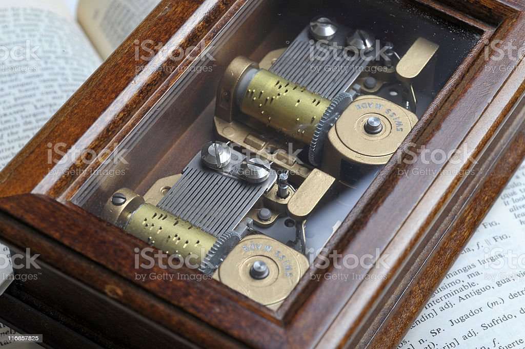 Wooden music box. stock photo