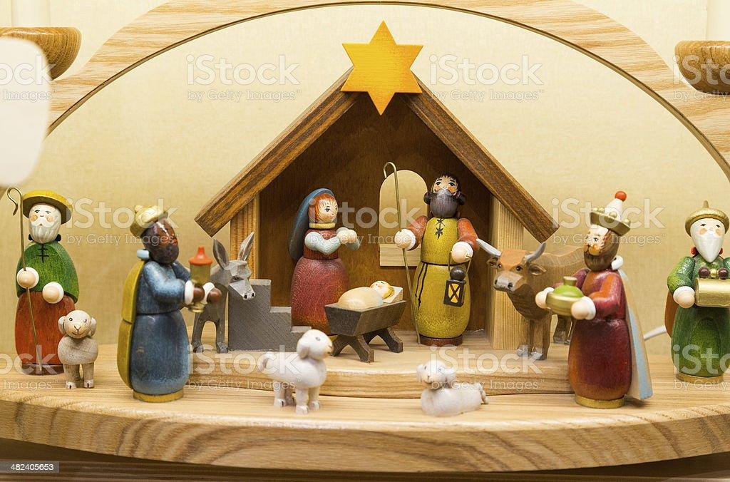 Wooden Nativity scene royalty-free stock photo