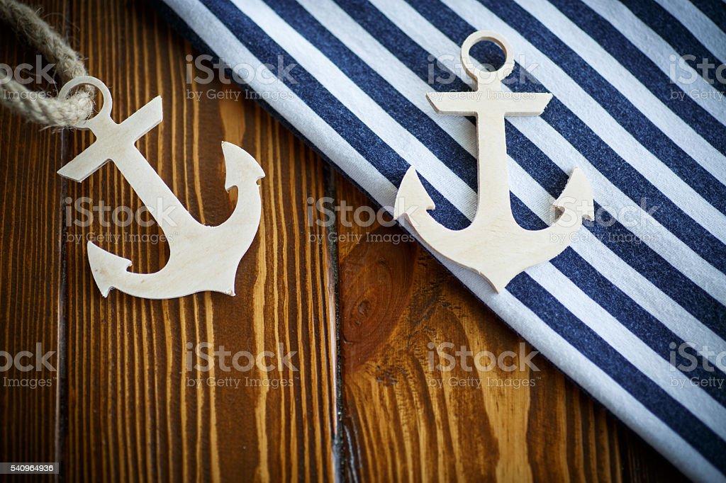 Wooden nautical anchor stock photo