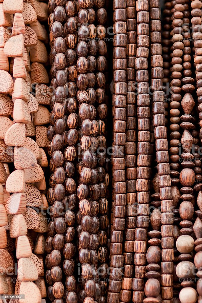 Wooden necklaces royalty-free stock photo