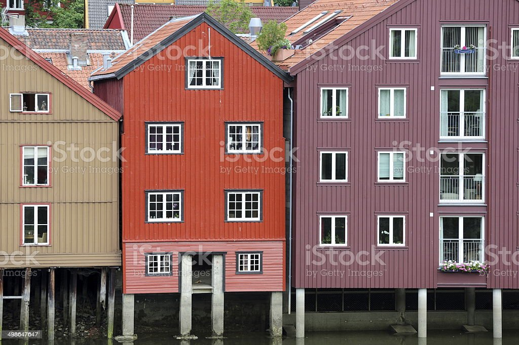 Wooden, Norwegian house stock photo