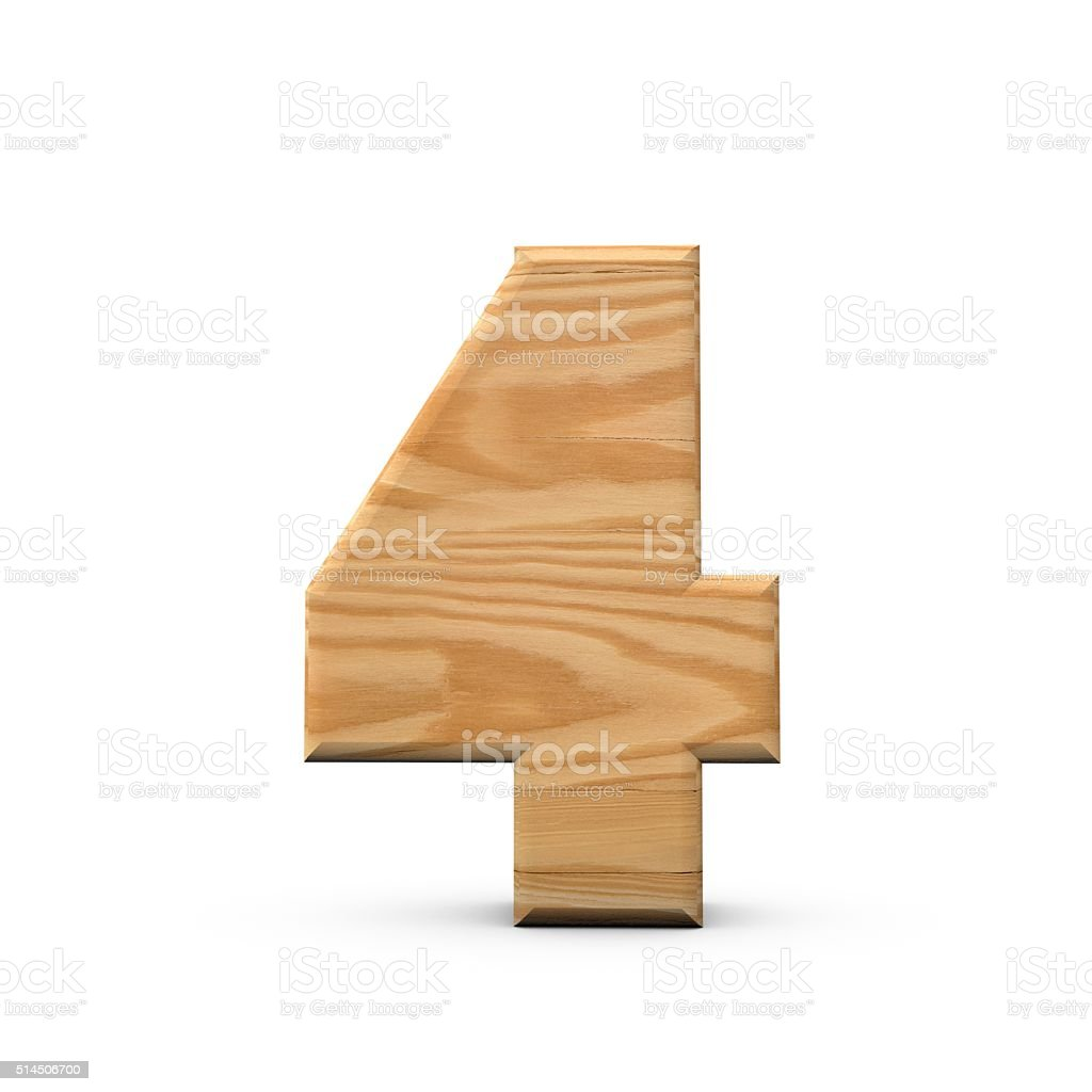 Wooden number 4 stock photo