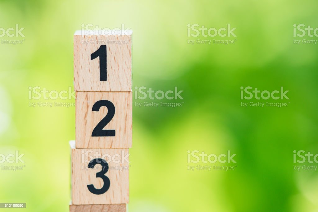 Wooden number on green nature stock photo
