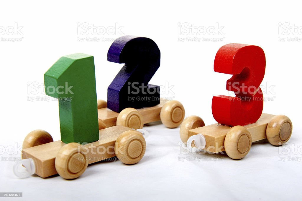 wooden numbers one two three stock photo