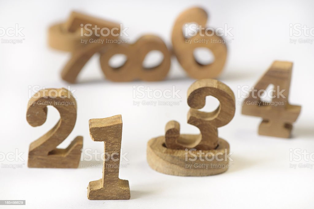 Wooden numbers style royalty-free stock photo