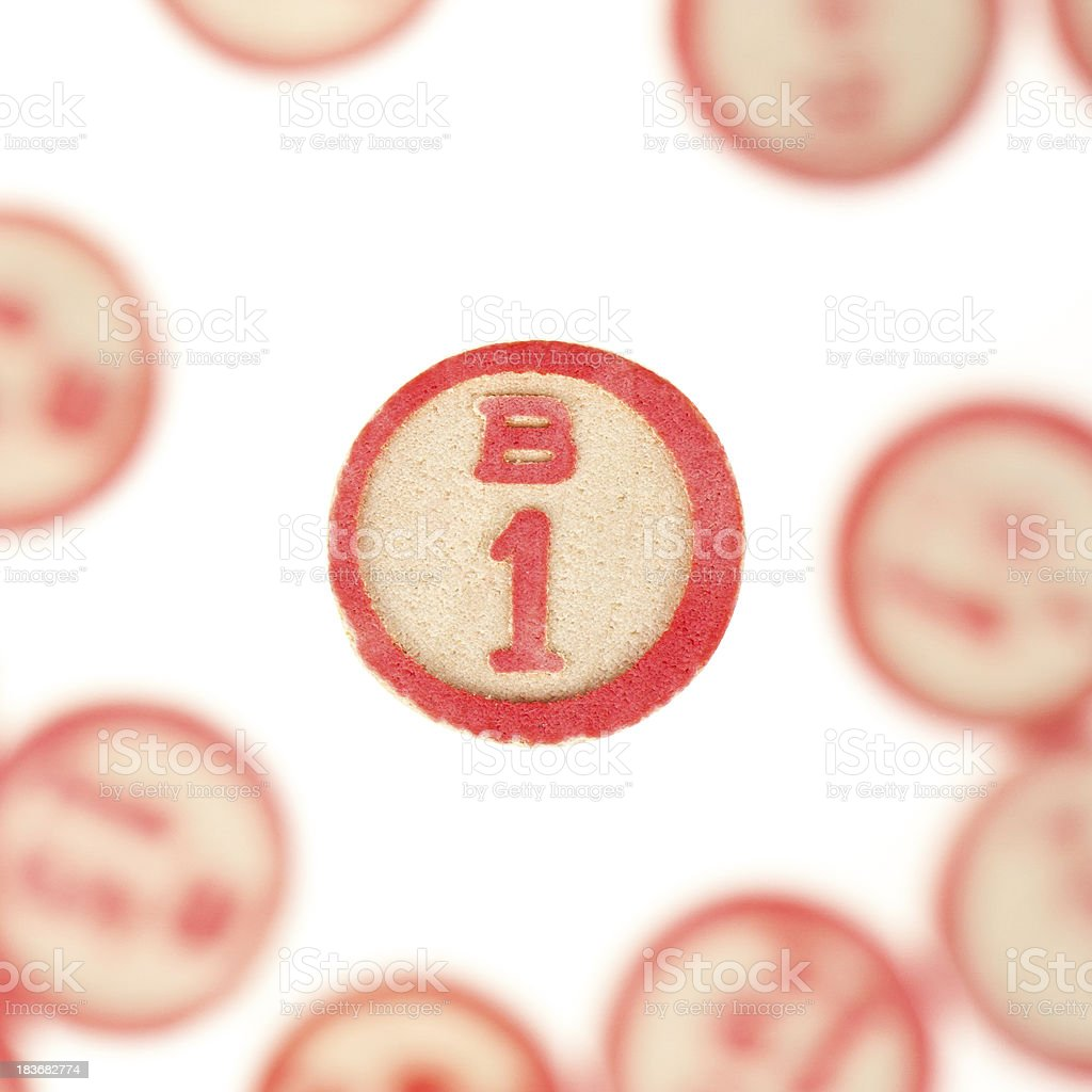 Wooden numbers used for bingo royalty-free stock photo