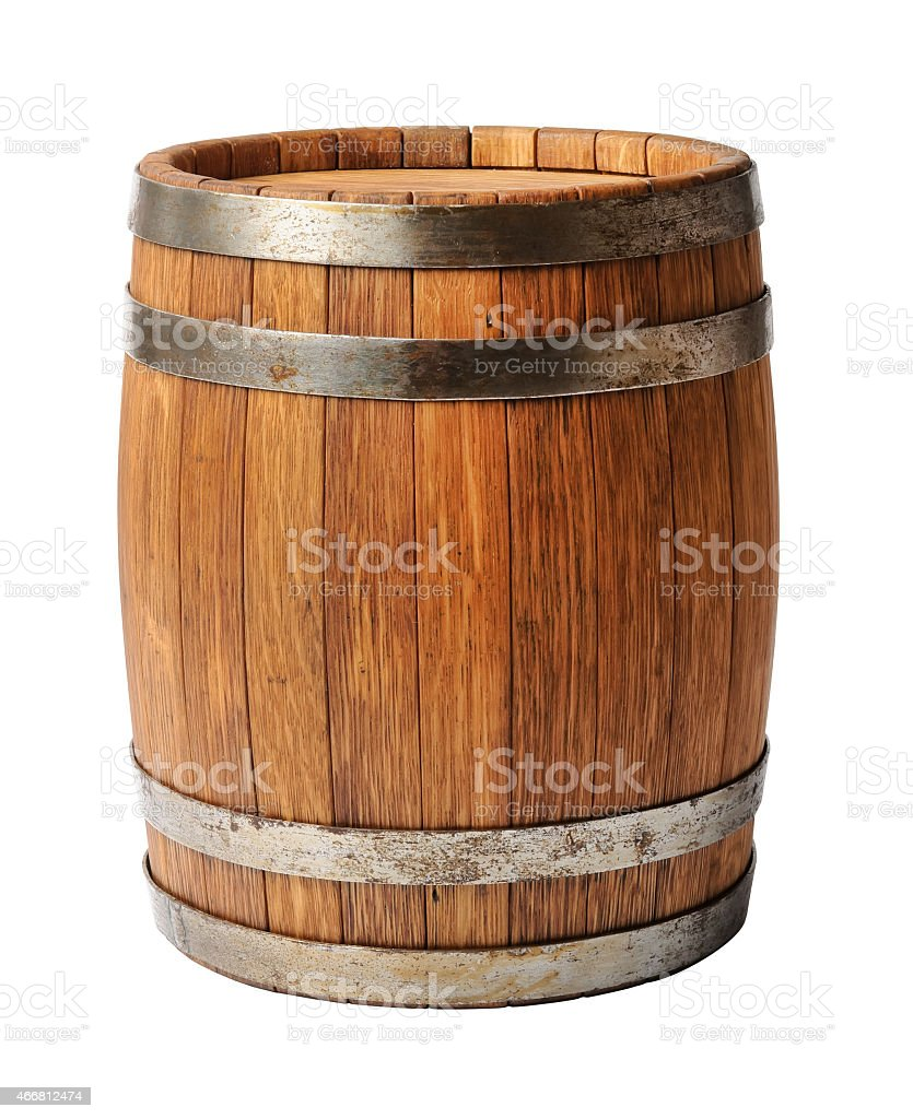 Wooden oak barrel isolated on white background stock photo