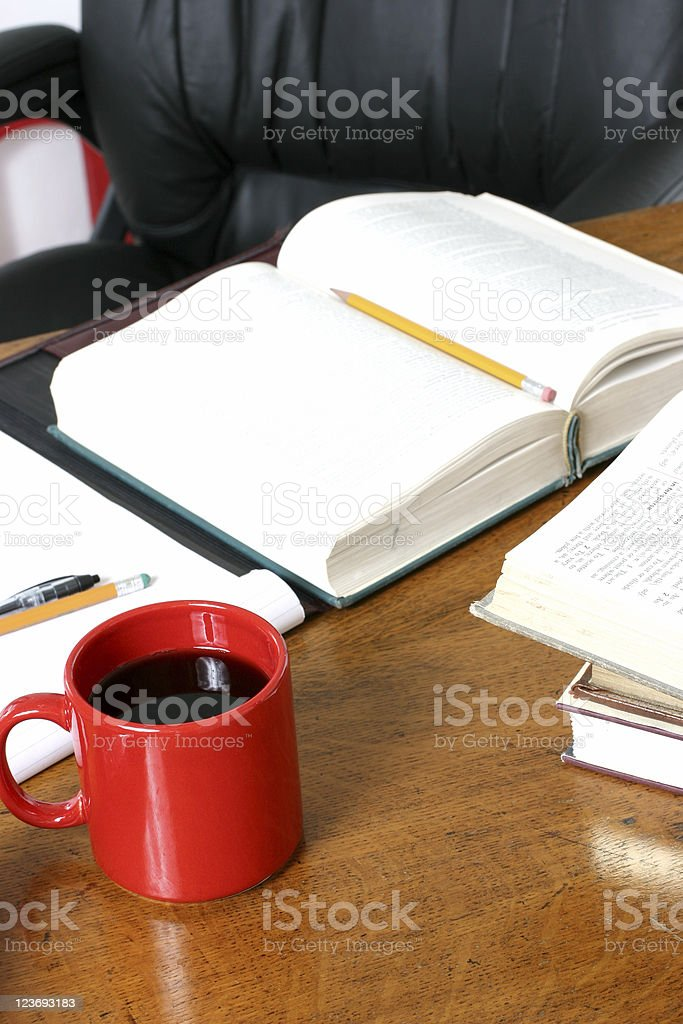 Wooden Oak Desk with coffee cup royalty-free stock photo