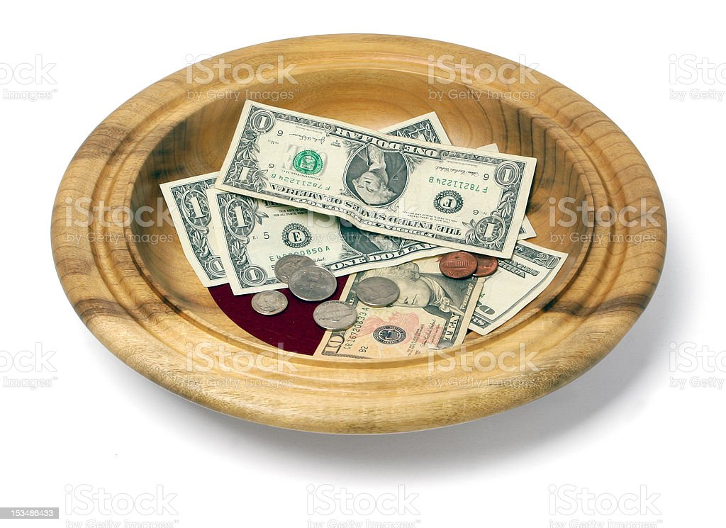Wooden Offering Plate stock photo