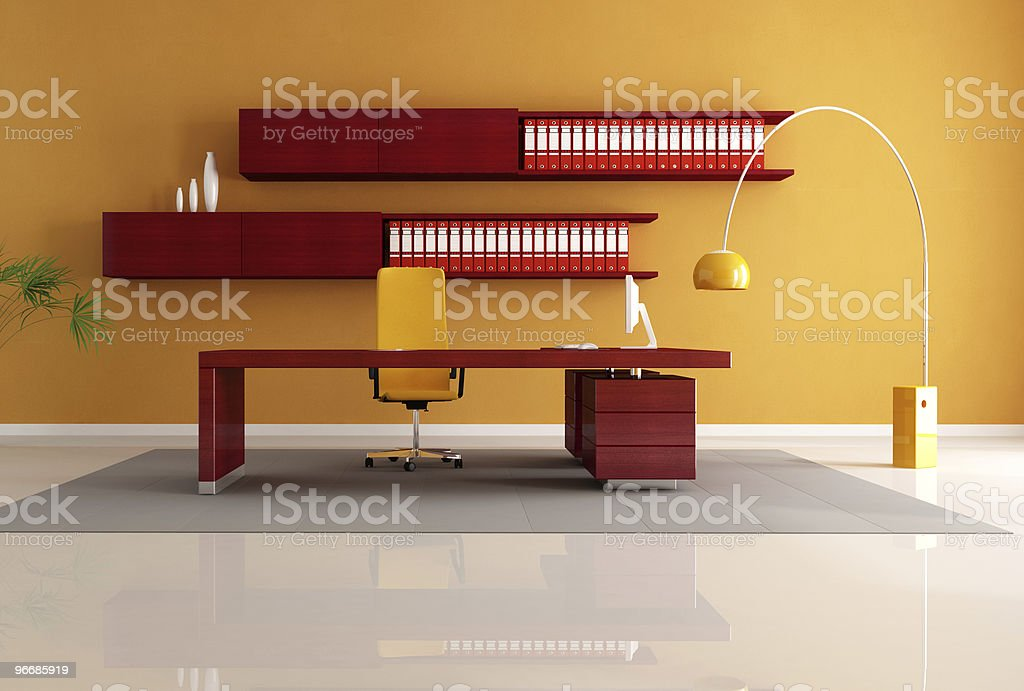 wooden office space royalty-free stock photo