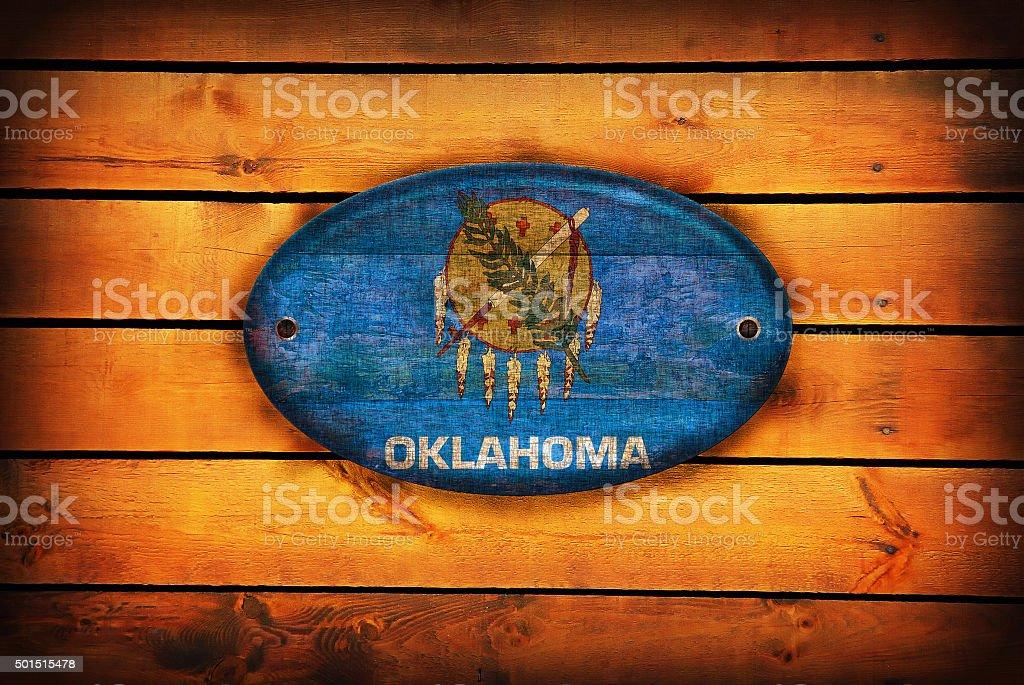 Wooden Oklahoma flag. stock photo