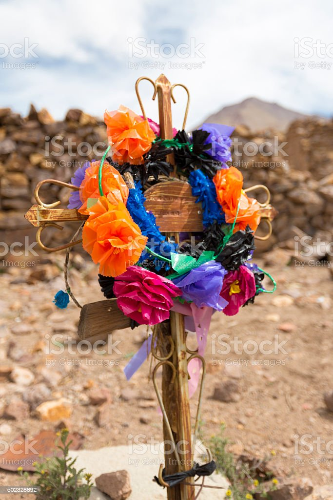 Wooden old christian religious cross at the Lipez ruins stock photo