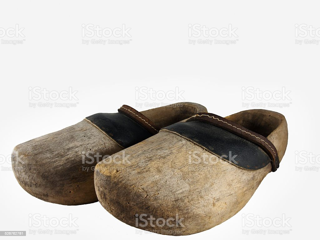 Wooden old clogs stock photo