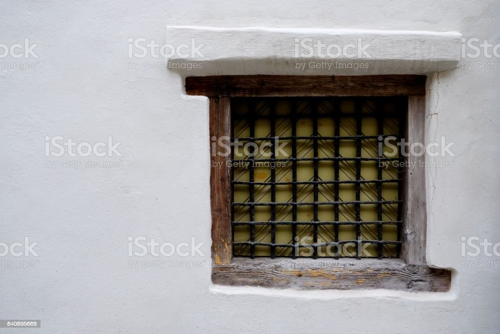 Wooden old dirty window. stock photo