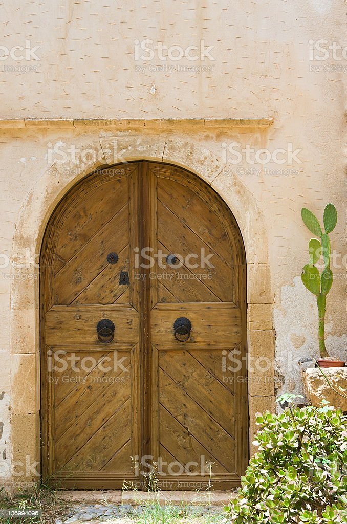 Wooden old style door. Entrance in ancient house and cactus royalty-free stock photo