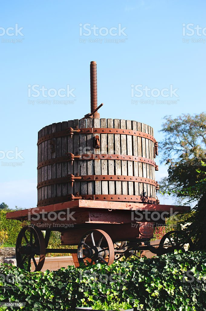Wooden old  Wine pressv close up stock photo
