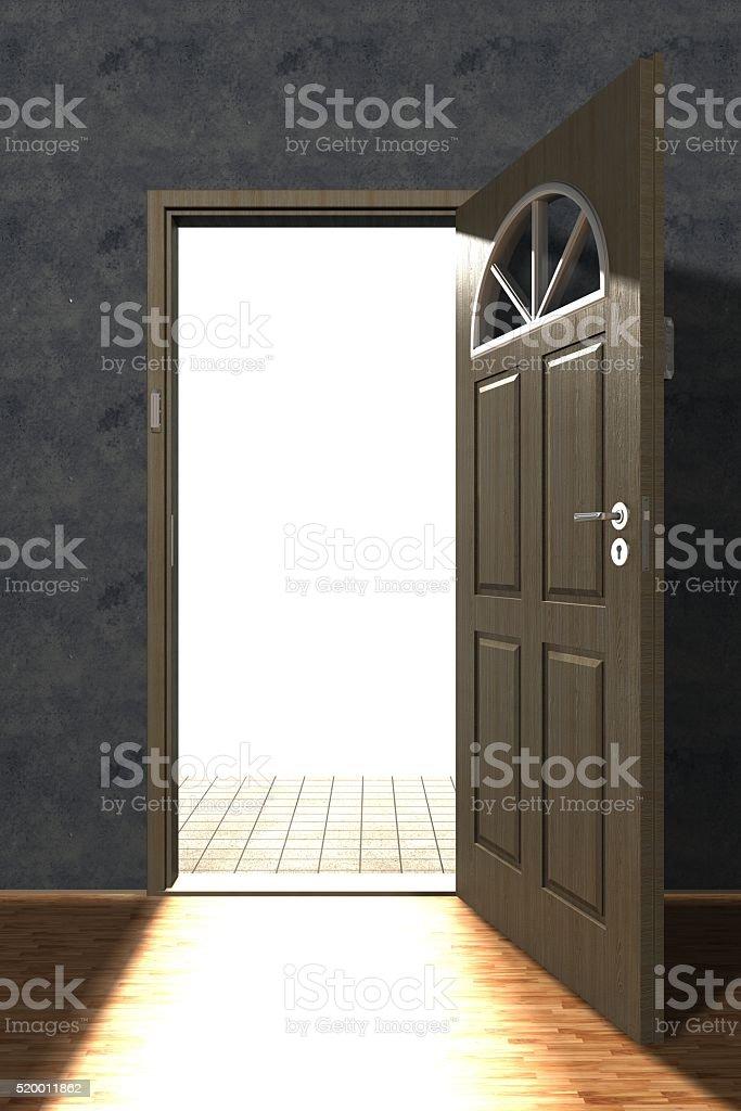 Wooden opened door stock photo