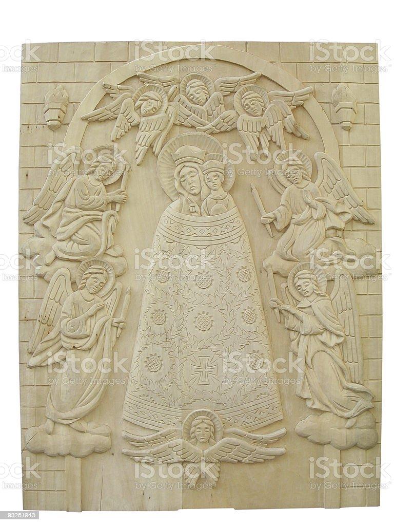 Religião ortodoxa de madeira de bas-alívio isolado sobre fundo branco foto de stock royalty-free