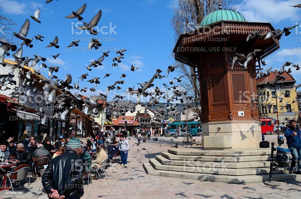 Wooden Ottoman Sebilj water fountain in Sarajevo Bascarsija Bosnia stock photo