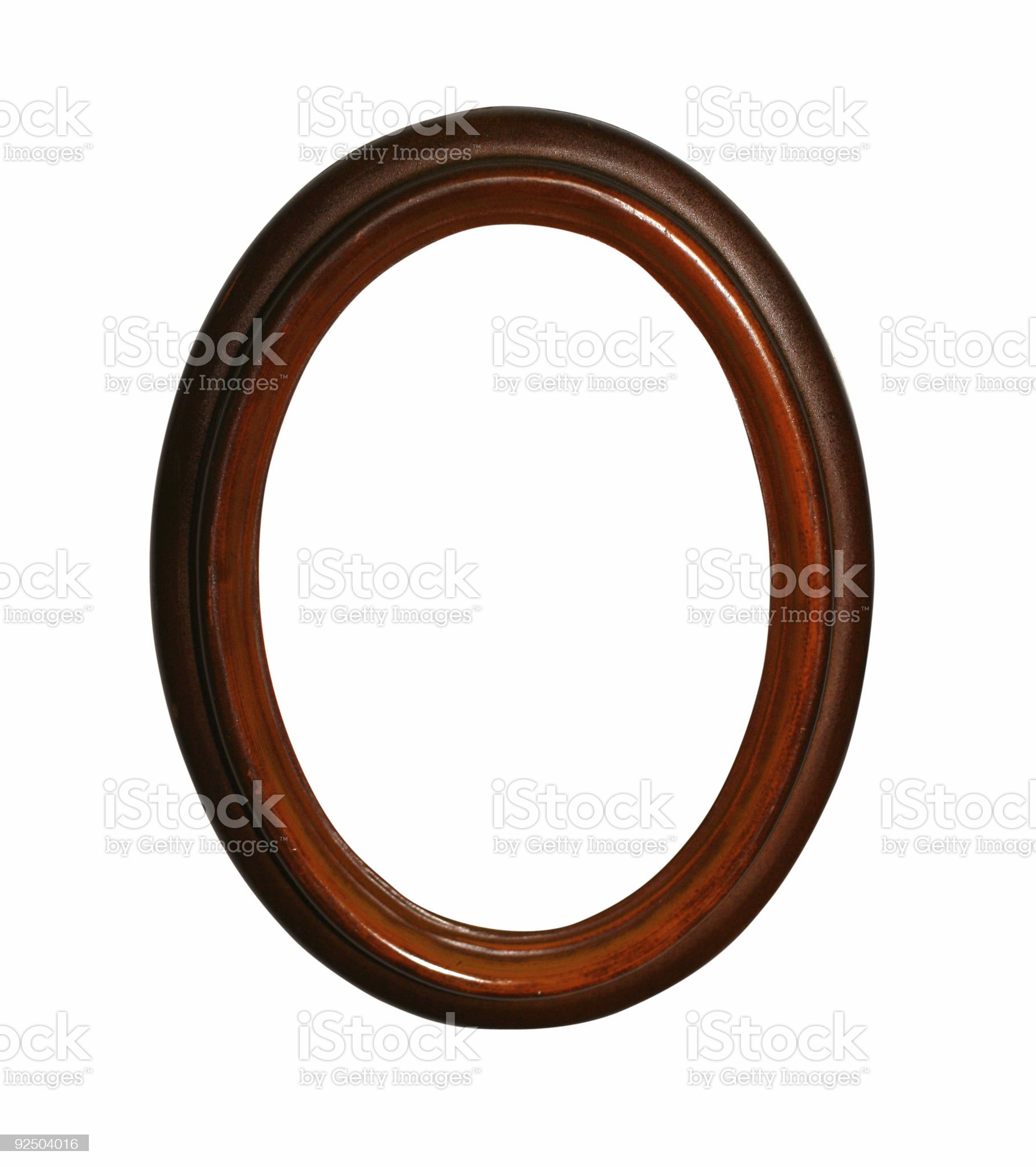 wooden oval frame with path royalty-free stock photo