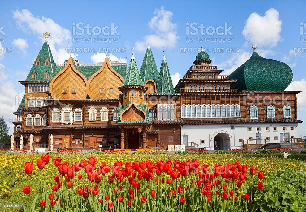 Wooden palace in Kolomenskoye, Moscow, Russia stock photo
