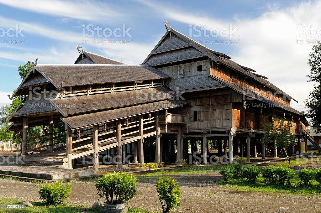 Wooden palace of the sultan in the Sumbawa town in Indonesia stock photo