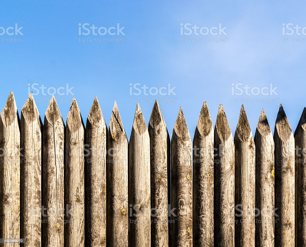 Wooden Palisade Fencing stock photo