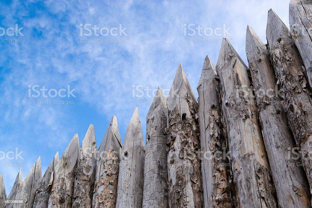 wooden palisades stock photo