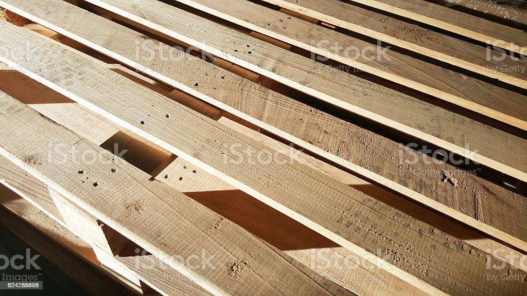 wooden pallet in warehouse stock photo