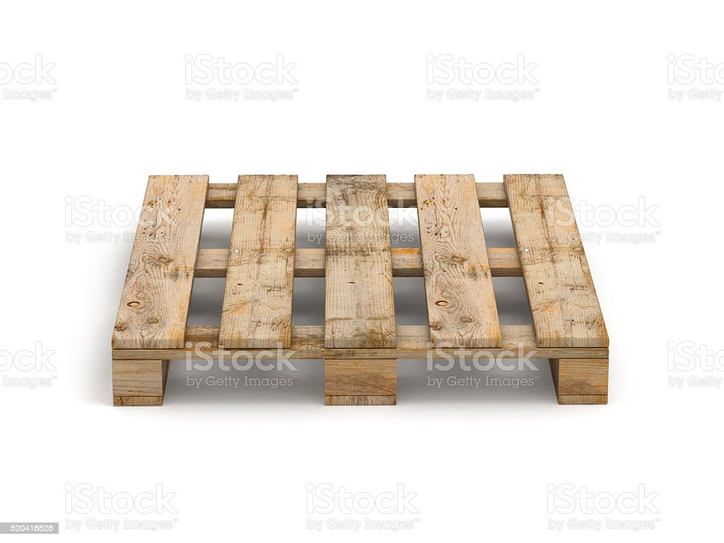 Wooden pallet. Isolated on white. stock photo