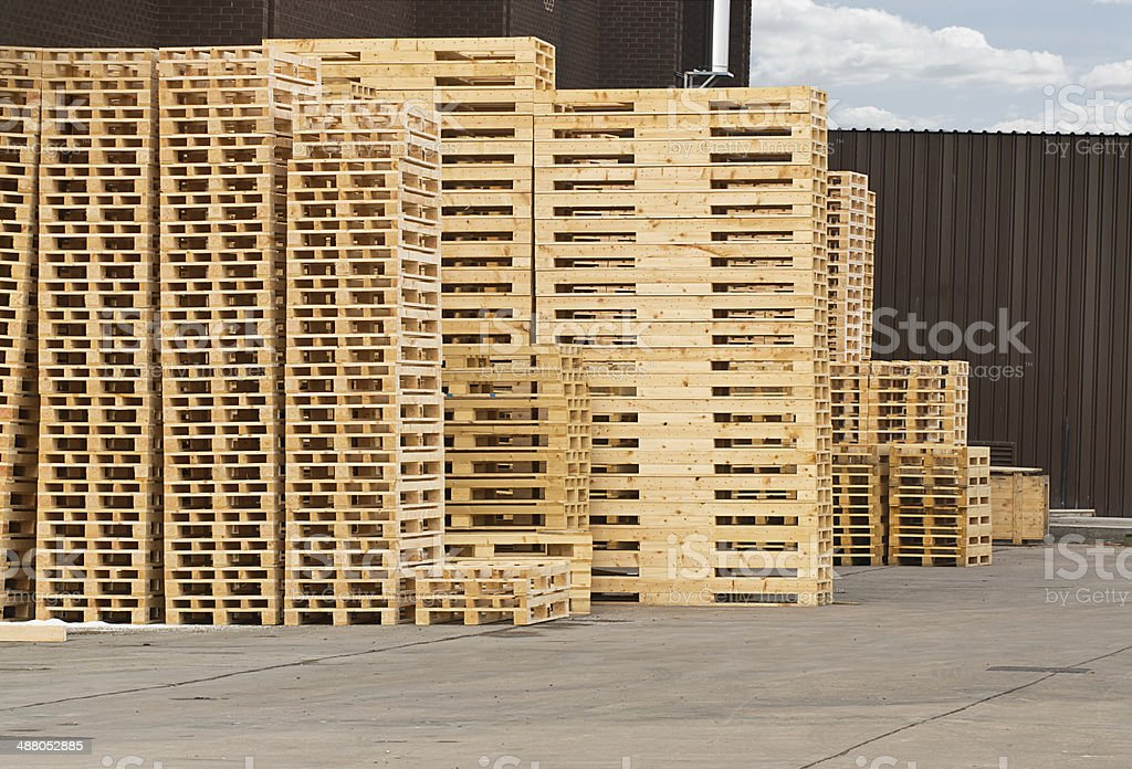 Wooden Pallet stack stock photo