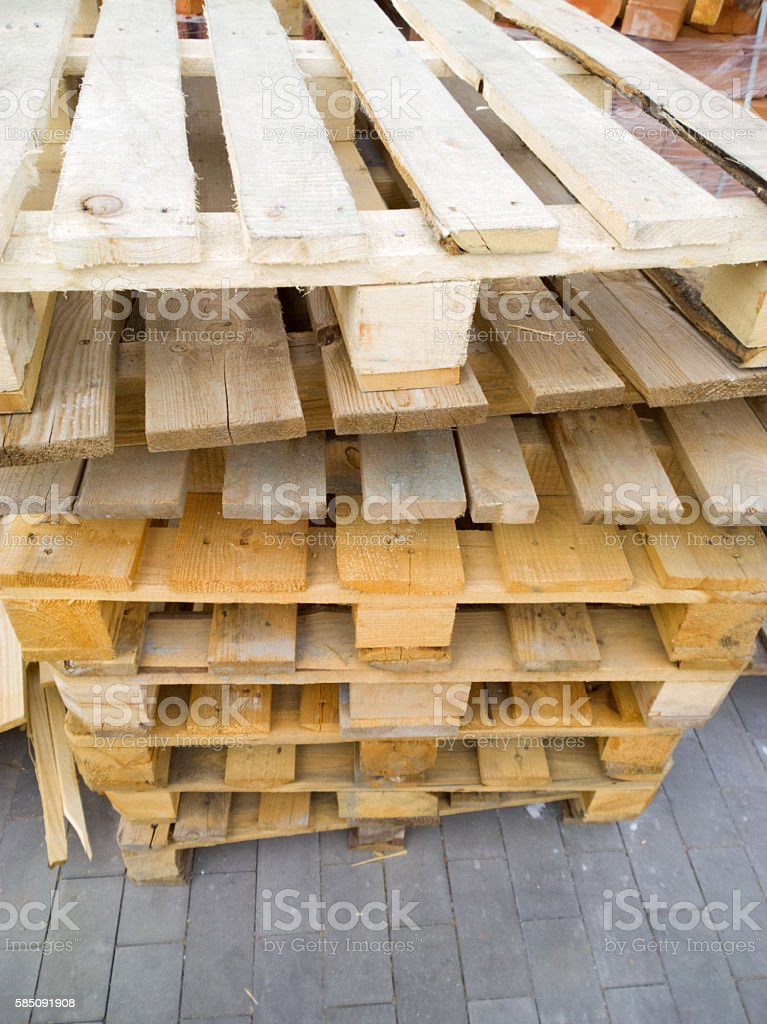 Wooden pallets. stock photo