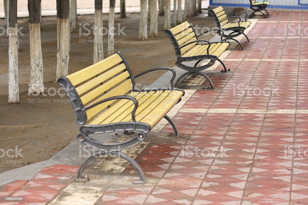 Wooden Park Bench royalty-free stock photo