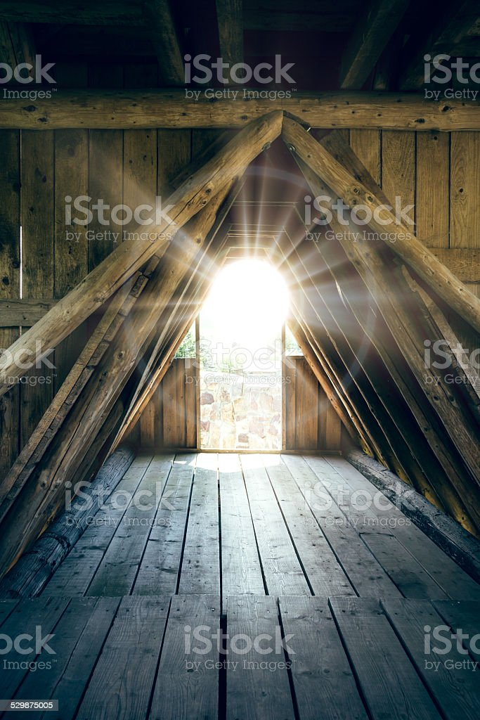 Wooden passage with light stock photo