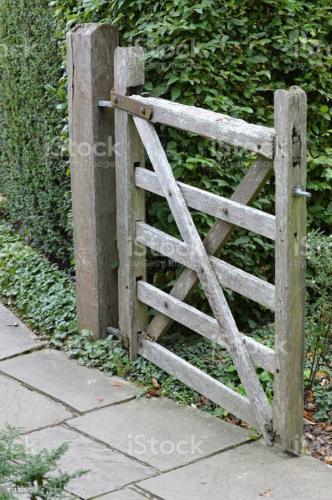 Wooden path gate. stock photo