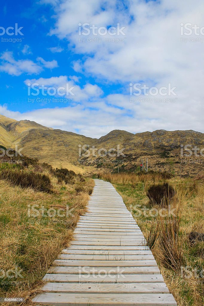 Wooden Path leading up to Glenfinnan Viaduct, Scottish Highlands, UK stock photo