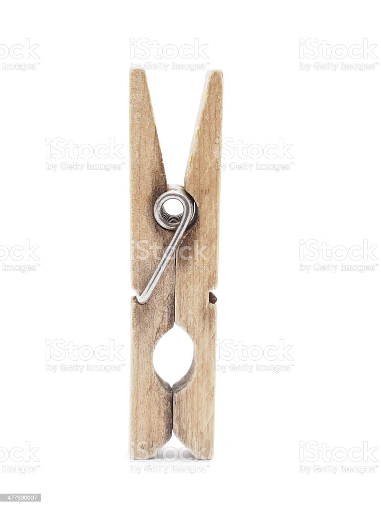 wooden peg on a white background royalty-free stock photo