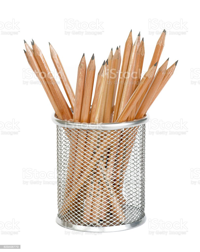Wooden pencils in a metal holder stock photo