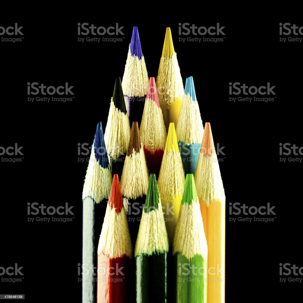 Wooden pencils isolated on black royalty-free stock photo