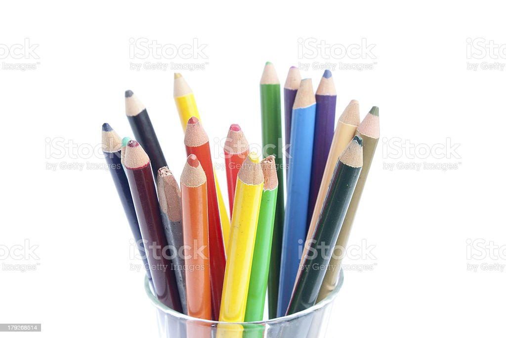 wooden pencils on white background royalty-free stock photo