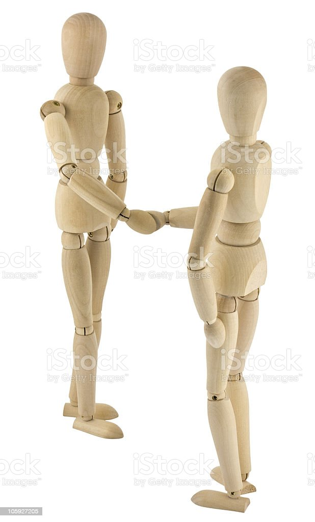 wooden people handshake on white background royalty-free stock photo