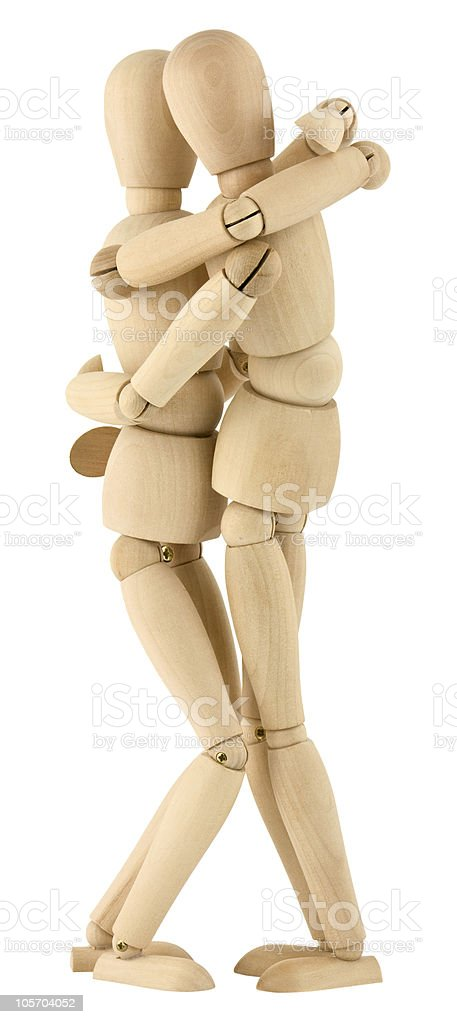 Wooden people love on white background royalty-free stock photo