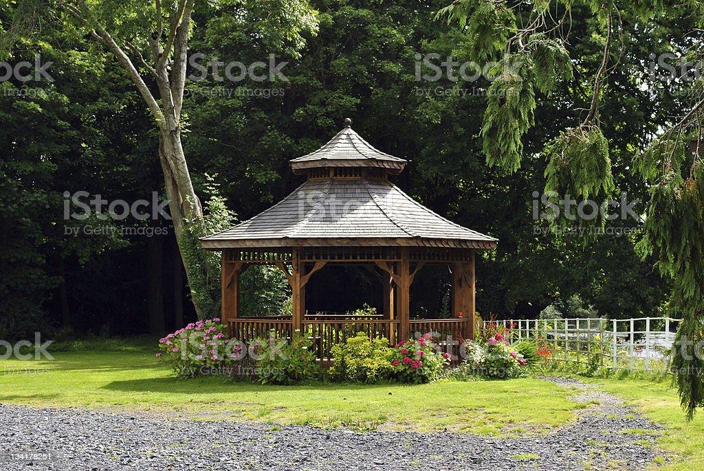 wooden pergola stock photo