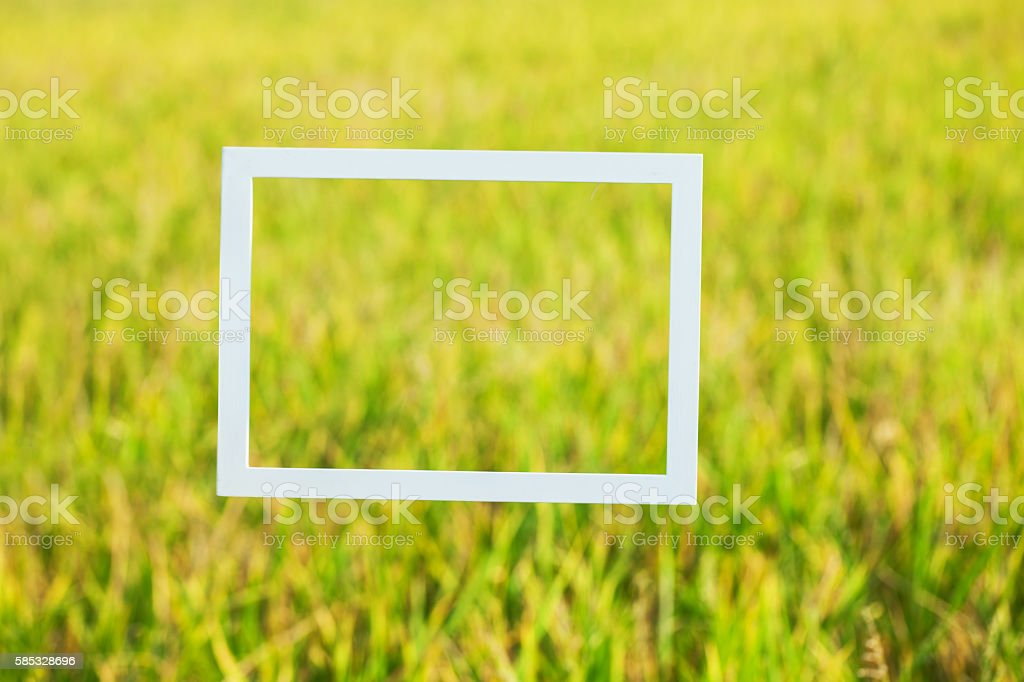 wooden photo frame composed by old man stock photo