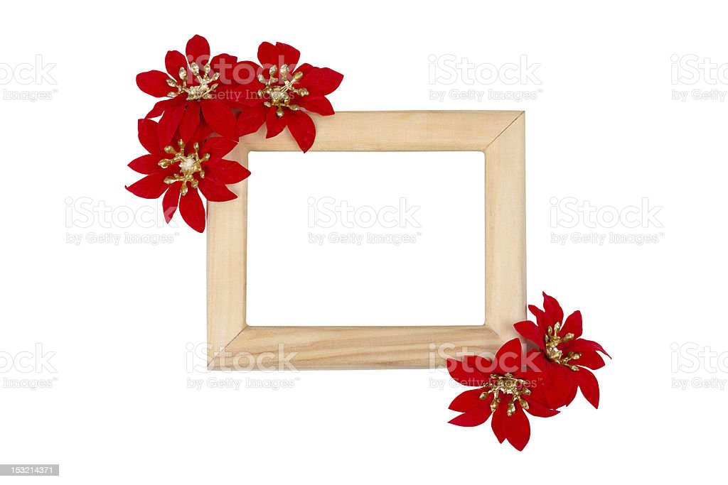 Wooden photo frame with red flowers royalty-free stock photo