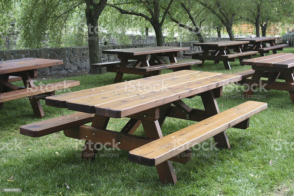 Wooden Picnic Tables stock photo