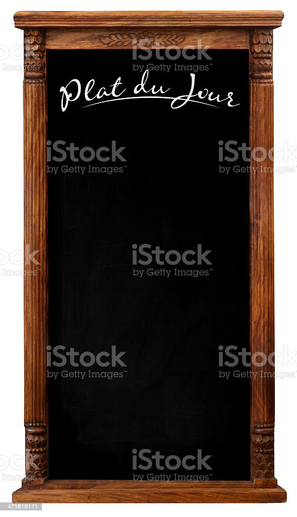 Wooden Picture Frame Chalkboard Blackboard Used As Plate du Jour stock photo